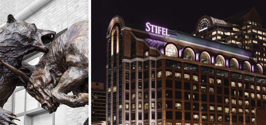Stifel's Bull and Bear Statue and downtown St. Louis, Missouri with Gateway Arch National Monument
